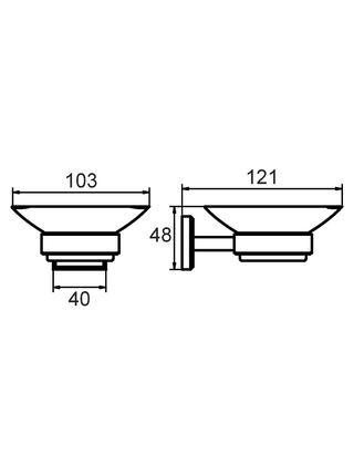 Мыльница настенная, матовое стекло, сплав металлов, Labrador, Milardo, LABSMG0M42