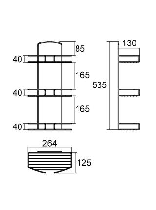 Полка трехъярусная прямая, проволока стальная, 13, Milardo, 013W030M44