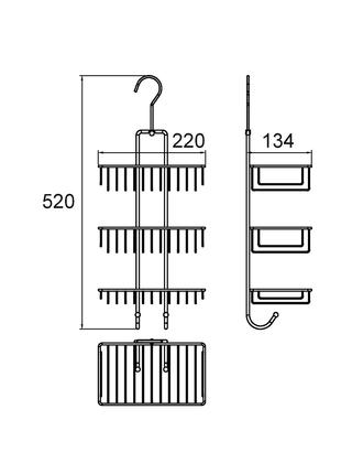 Полка прямая трехъярусная с крючком, проволока стальная, 15, Milardo, 015W03HM44