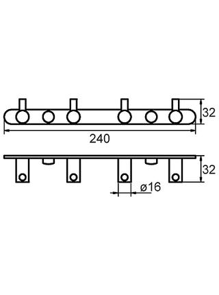 Планка с крючками, четверная, сплав металлов, Milardo, 005SM40M41