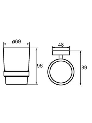 Подстаканник одинарный настенный, матовое стекло, сплав металлов, Amur, Milardo, AMUSMG0M45