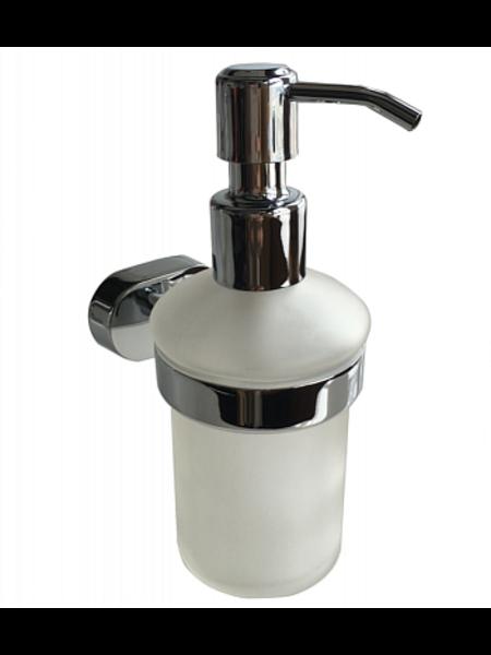 Дозатор для жидкого мыла, матовое стекло, сплав металлов, Solomon, Milardo, SOLSMG0M46