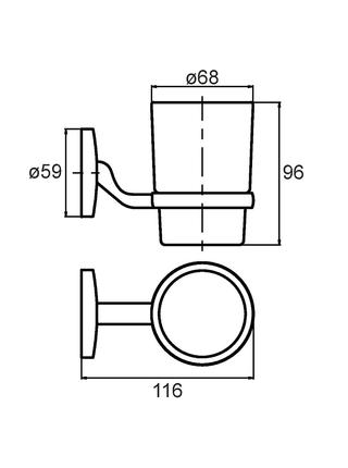 Подстаканник одинарный настенный, стекло, сплав металлов, Cadiss, Milardo, CADSMG0M45