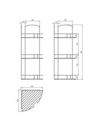 Полка трехъярусная угловая, проволока стальная, 11, Milardo, 111WC30M44