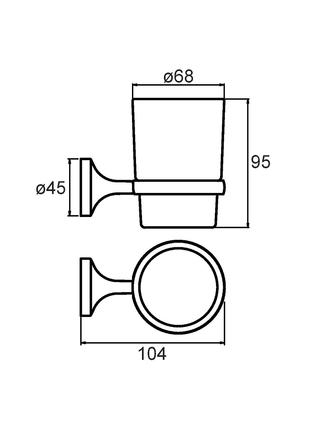 Подстаканник одинарный настенный, матовое стекло, сплав металлов, Magellan, Milardo, MAGSMG0M45