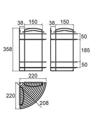Полка двухъярусная угловая, проволока стальная, 09, Milardo, 209WC20M44