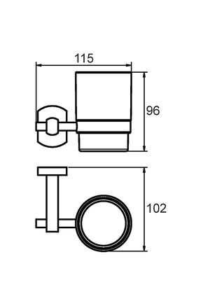 Подстаканник одинарный настенный, матовое стекло, сплав металлов, Neva, Milardo, NEVSMG0M45