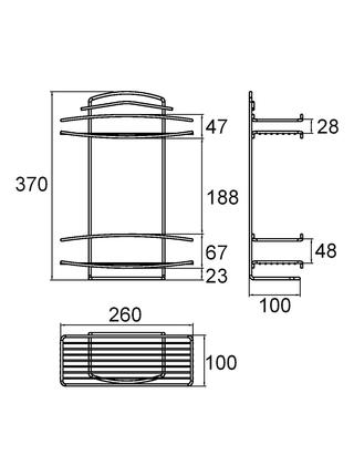 Полка двухъярусная прямая, проволока стальная, 12, Milardo, 212W020M44