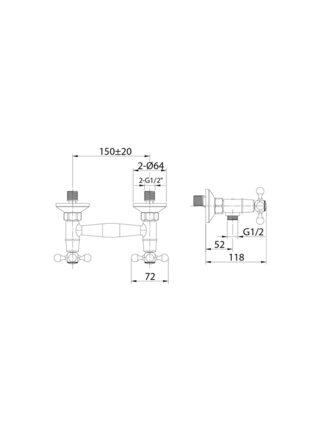 Смеситель для душа Duplex Milardo DUPSB00M03