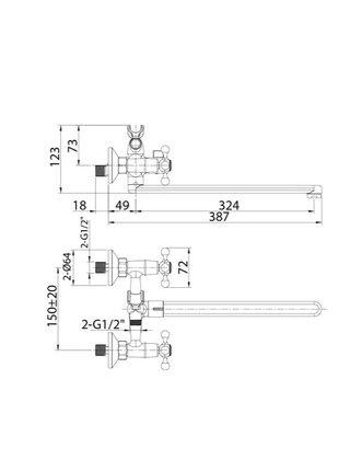 Смеситель для ванны с длинным изливом Duplex Milardo DUPSBL2M10