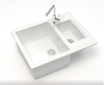 Мойка прямоугольная 1,5чаши (615х500х210) Санди Z19Q1(белый лёд)